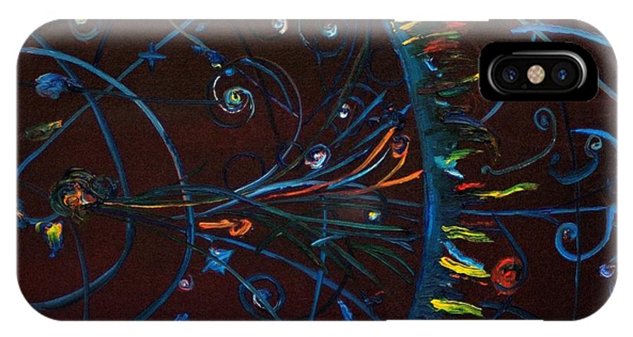 Cern IPhone X / XS Case featuring the painting Cern Atomic Collision Physics And Colliding Particles by Gregory Allen Page