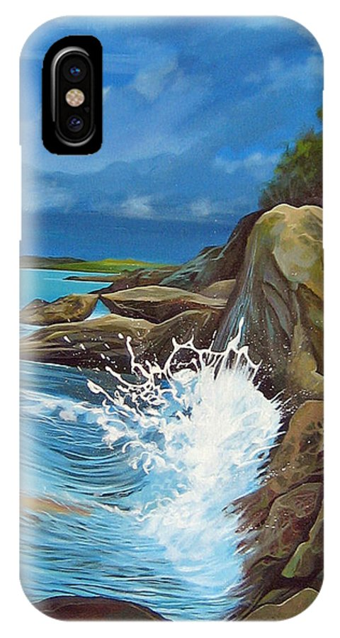 Ocean IPhone X Case featuring the painting Cerulean by Hunter Jay