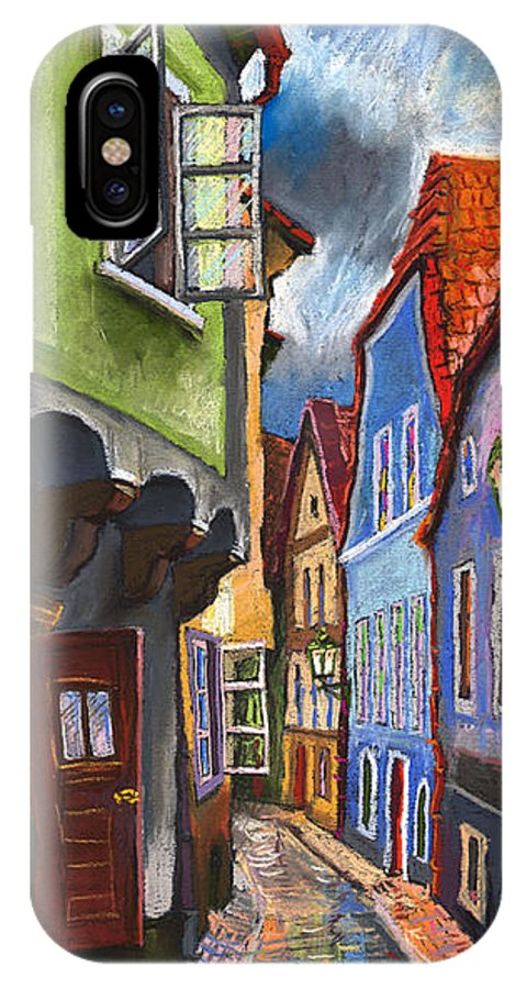 Pastel Chesky Krumlov Old Street Architectur IPhone Case featuring the painting Cesky Krumlov Old Street 1 by Yuriy Shevchuk