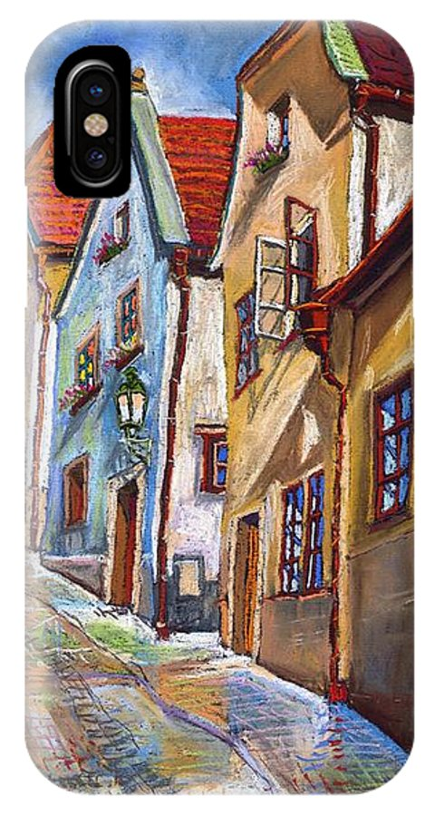 Pastel Chesky Krumlov Old Street Architectur IPhone Case featuring the painting Cesky Krumlov Old Street 2 by Yuriy Shevchuk