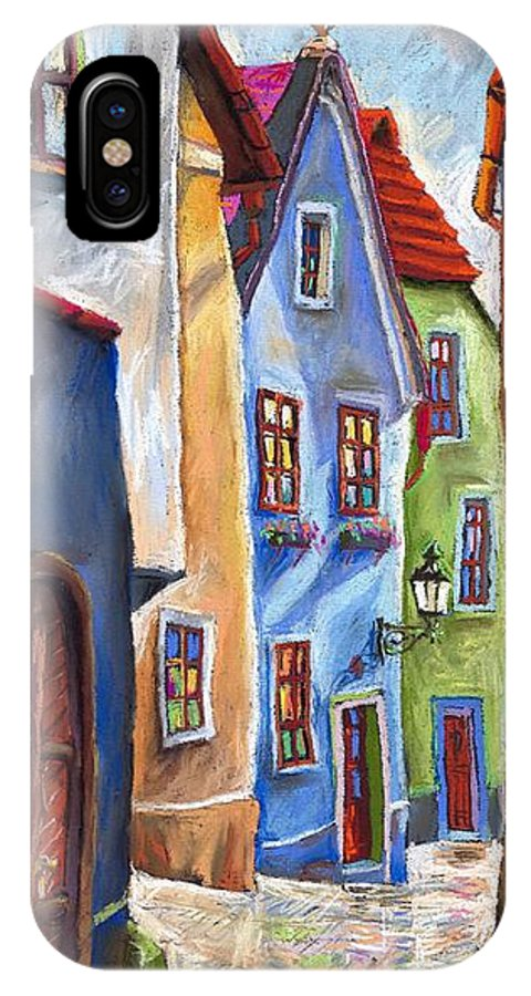 Cityscape IPhone X Case featuring the painting Cesky Krumlov Old Street by Yuriy Shevchuk