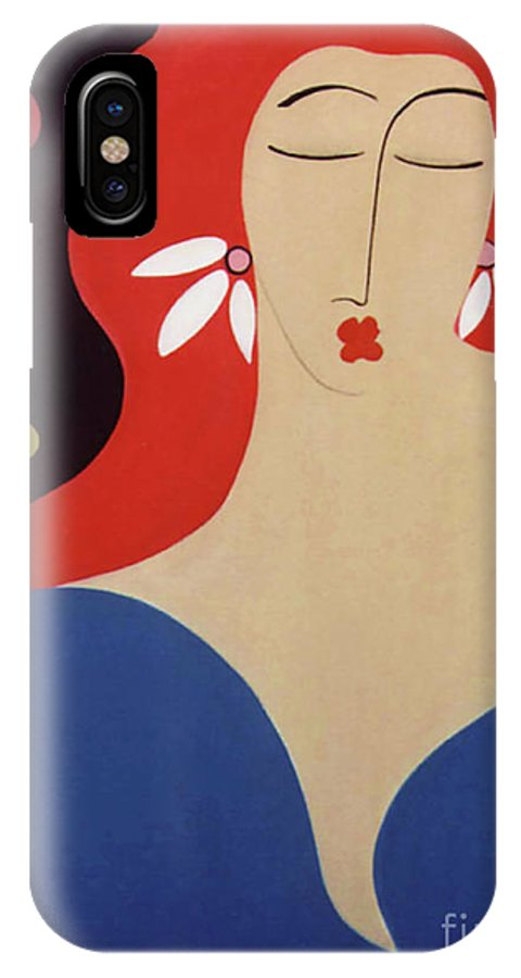 #female IPhone X Case featuring the painting Cha Cha by Jacquelinemari