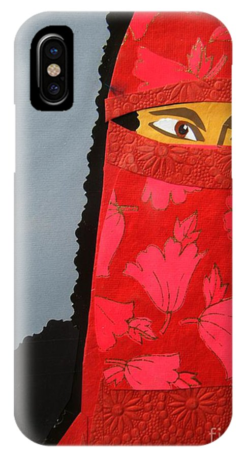 Woman IPhone X Case featuring the mixed media Chador by Debra Bretton Robinson