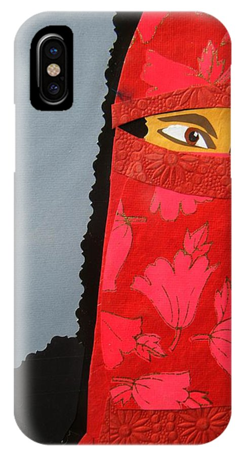 Woman IPhone X Case featuring the mixed media Chador by Debra Bretton Robinson