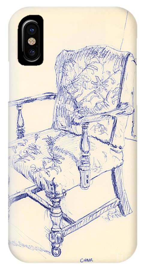 Chair IPhone X Case featuring the drawing Chair by Ron Bissett