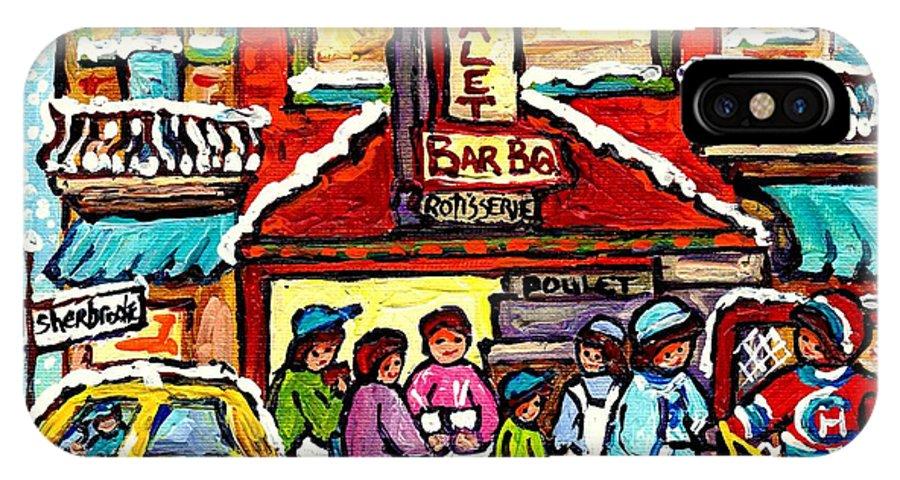 Montreal IPhone X Case featuring the painting Chalet Bbq Montreal Snowy Winter Street Scene Street Hockey Art Canadian Artist Carole Spandau by Carole Spandau