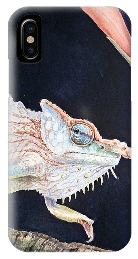 Chameleon IPhone X Case featuring the painting Chameleon by Irina Sztukowski