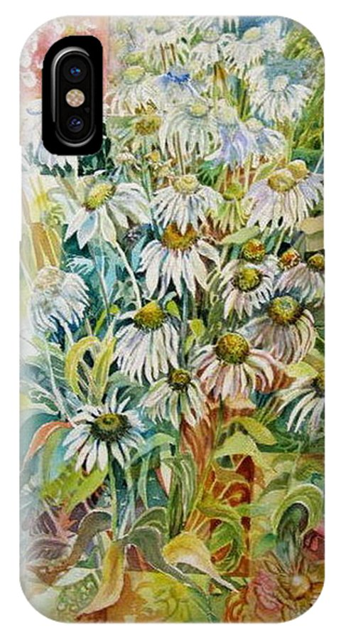 Art IPhone X Case featuring the painting Chamomile by Therese AbouNader