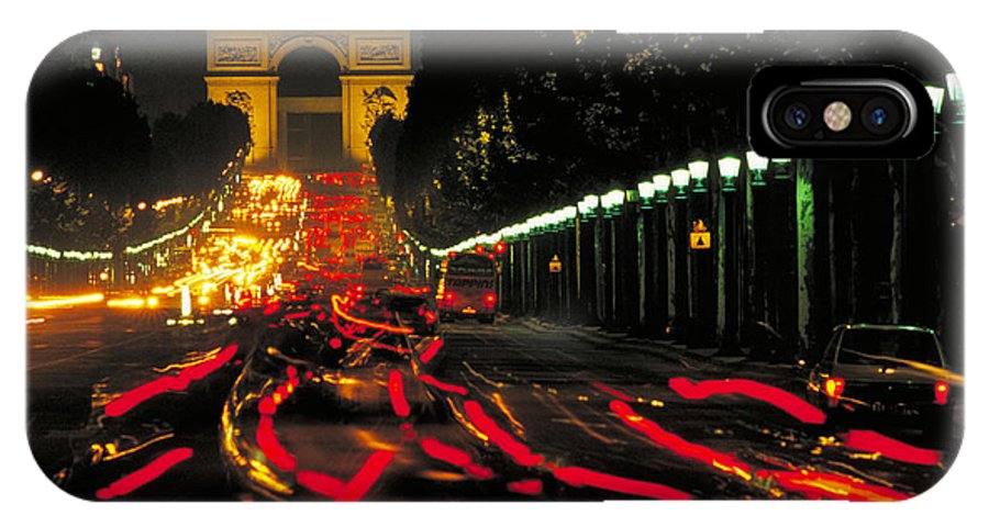 France IPhone X Case featuring the photograph Champs Elysee In Paris by Carl Purcell