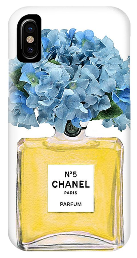 Chanel Perfume Nr 5 IPhone X Case featuring the painting Chanel Perfume Nr 5 With Blue Hydragenias by Del Art