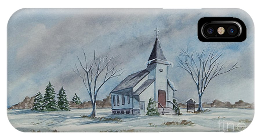 Country Church IPhone X Case featuring the painting Chapel In Winter by Charlotte Blanchard