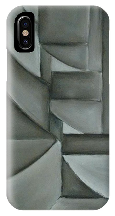 Decorative Abstract IPhone X Case featuring the drawing Charcoal Abstract by Mark Nute