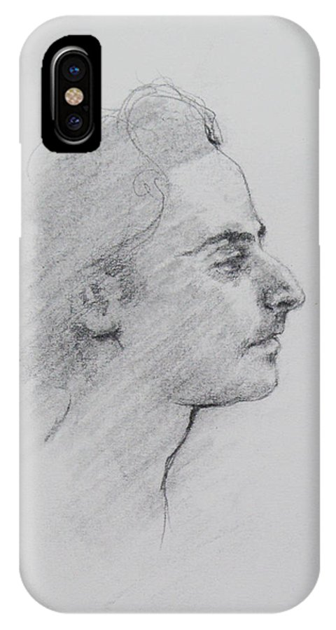 Charcoal Drawing IPhone X / XS Case featuring the painting Charcoal Series 2       by Becky Kim