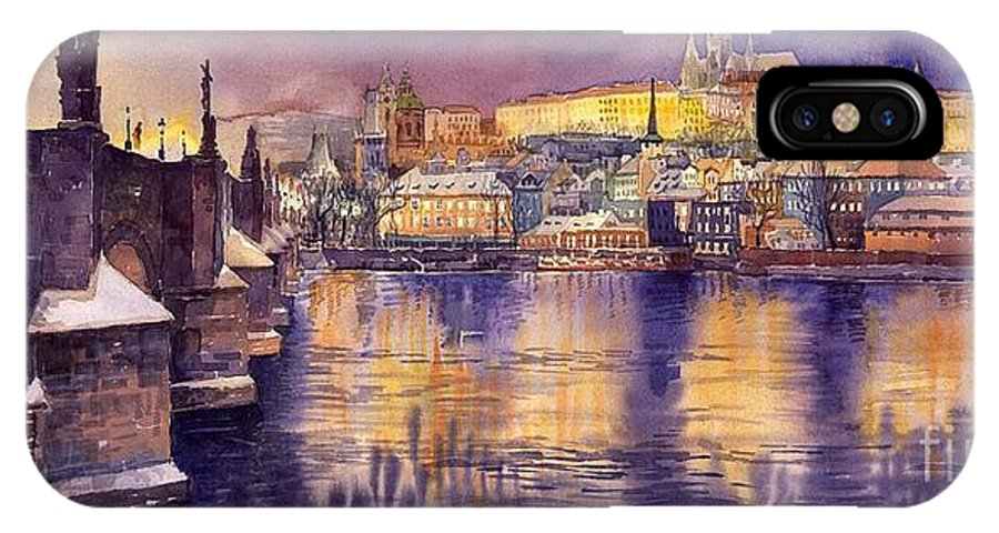 Cityscape IPhone X Case featuring the painting Charles Bridge And Prague Castle With The Vltava River by Yuriy Shevchuk