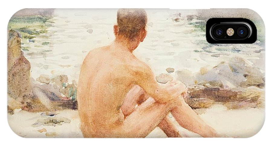 Charlie Mitchell IPhone X Case featuring the painting Charlie Seated On The Sand by Henry Scott Tuke
