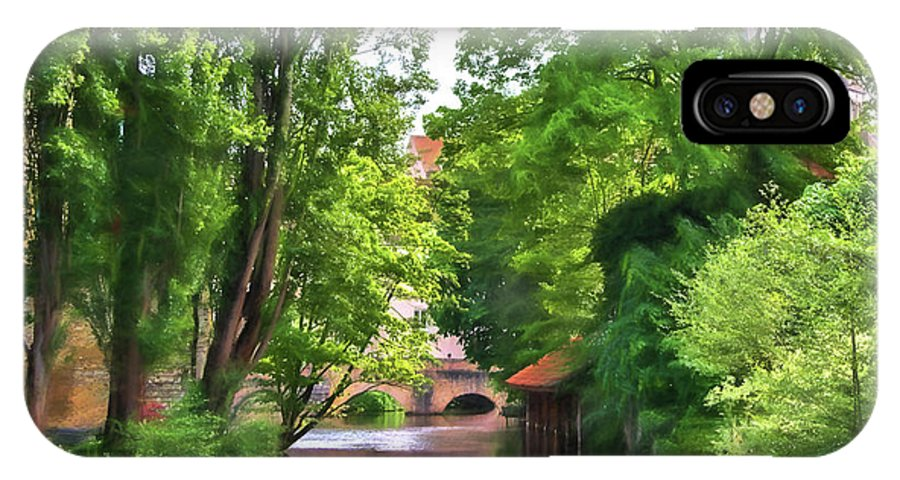 Chartres IPhone X Case featuring the photograph Chartres, France, Park On L'eure River by Curt Rush