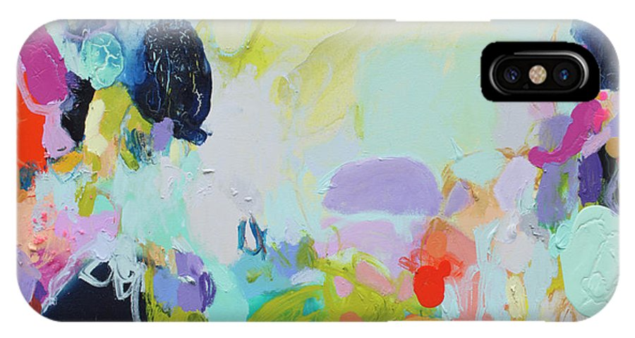 Abstract IPhone X Case featuring the painting Chartreuse Stop by Claire Desjardins