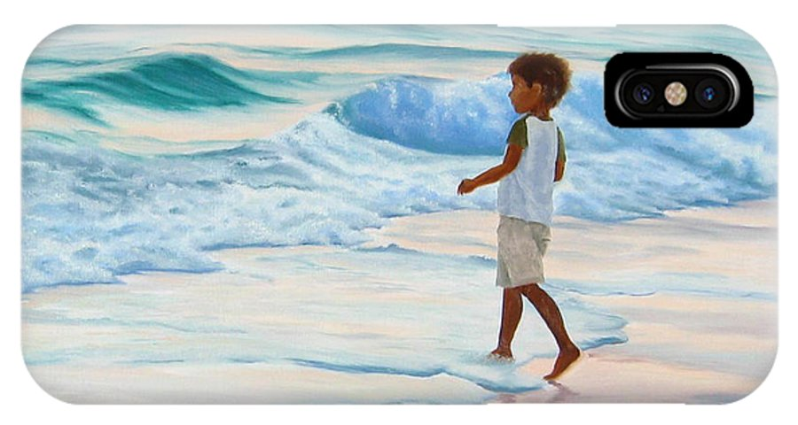 Child IPhone X Case featuring the painting Chasing The Waves by Lea Novak