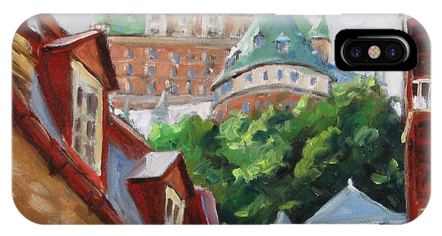 Chateau Frontenac IPhone X Case featuring the painting Chateau Frontenac by Richard T Pranke