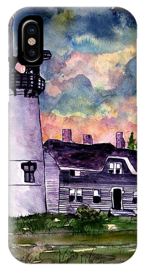 Lighthouse IPhone X Case featuring the painting Chatham Lighthouse Martha's Vineyard Massachuestts Cape Cod Art by Derek Mccrea