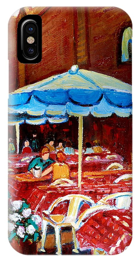 Montreal IPhone X Case featuring the painting Checkered Tablecloths by Carole Spandau