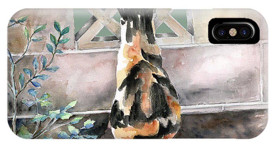 Cat IPhone Case featuring the painting Checking Out The Neighbors Backyard by Arline Wagner
