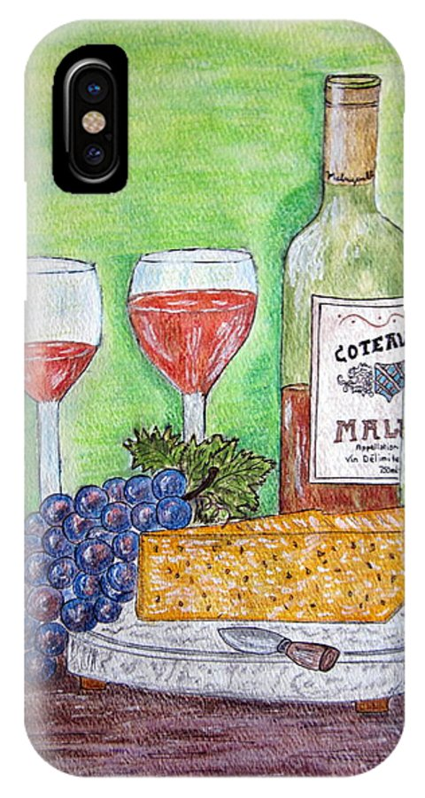 Cheese IPhone X Case featuring the painting Cheese Wine and Grapes by Kathy Marrs Chandler