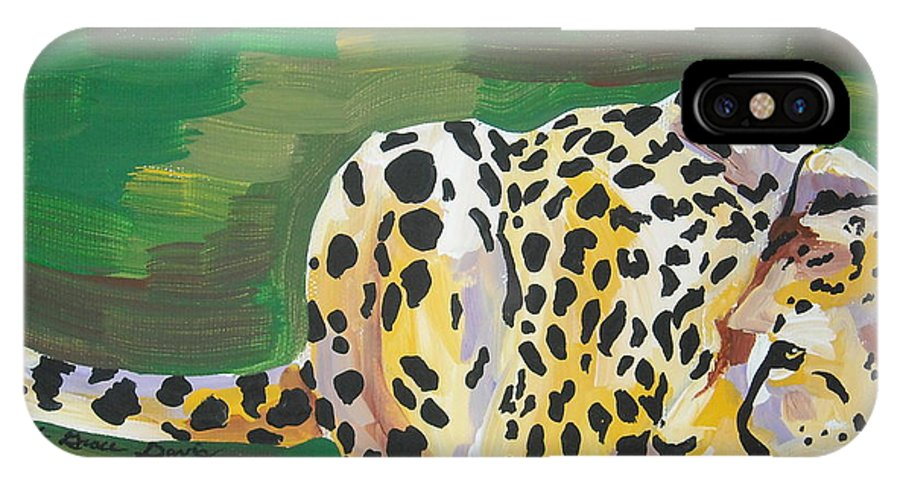 Cheetah IPhone X Case featuring the painting Cheetah by Caroline Davis