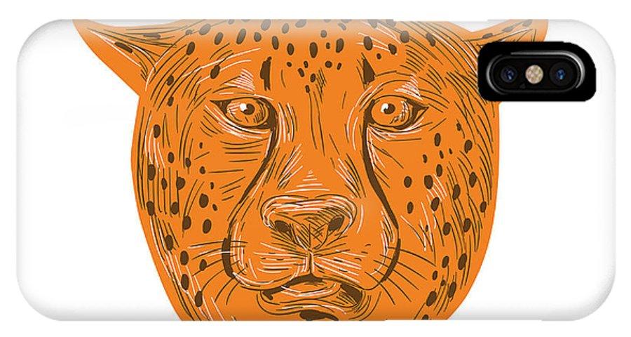 Drawing IPhone X Case featuring the digital art Cheetah Head Drawing by Aloysius Patrimonio