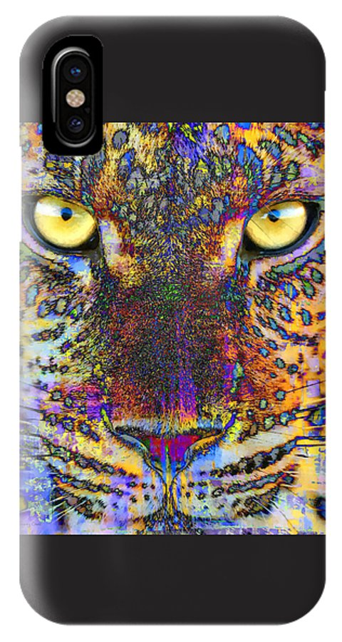 Cheetah IPhone X / XS Case featuring the mixed media Cheetah by Stacey Chiew