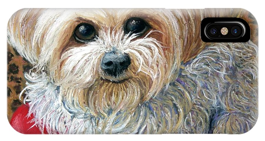 Dog IPhone X Case featuring the painting My Friend by Minaz Jantz