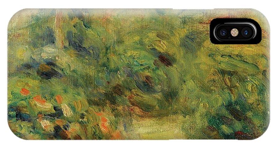 Pierre-auguste Renoir 1841 - 1919 Chemin Aux Collettes Avec Tilleul � Gauche Or Paysage - Fragment IPhone X / XS Case featuring the painting Chemin Aux Collettes Avec Tilleul by MotionAge Designs