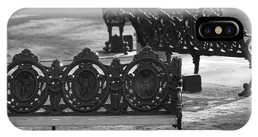 Black And White IPhone Case featuring the photograph Cherb Benches by Rob Hans