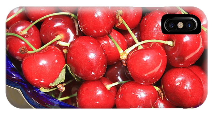 Food IPhone X Case featuring the photograph Cherries In A Bowl Close-up by Carol Groenen