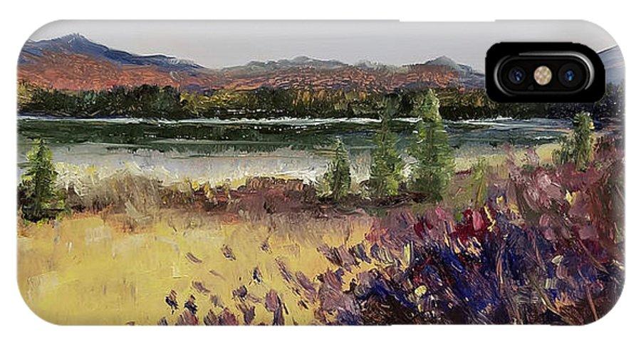 Cherry Pond IPhone X Case featuring the painting Cherripondi by Susan Hanna