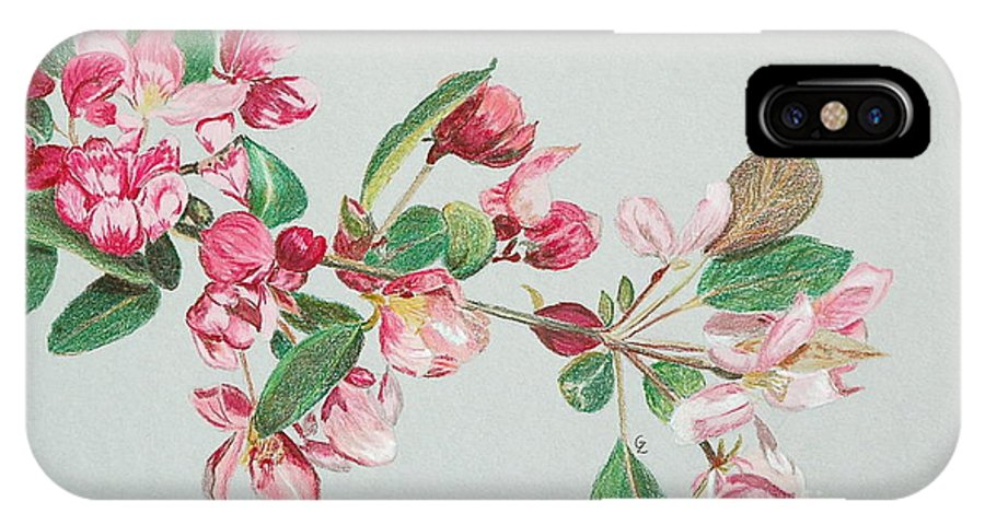 Color IPhone X Case featuring the drawing Cherry Blossom by Glenda Zuckerman