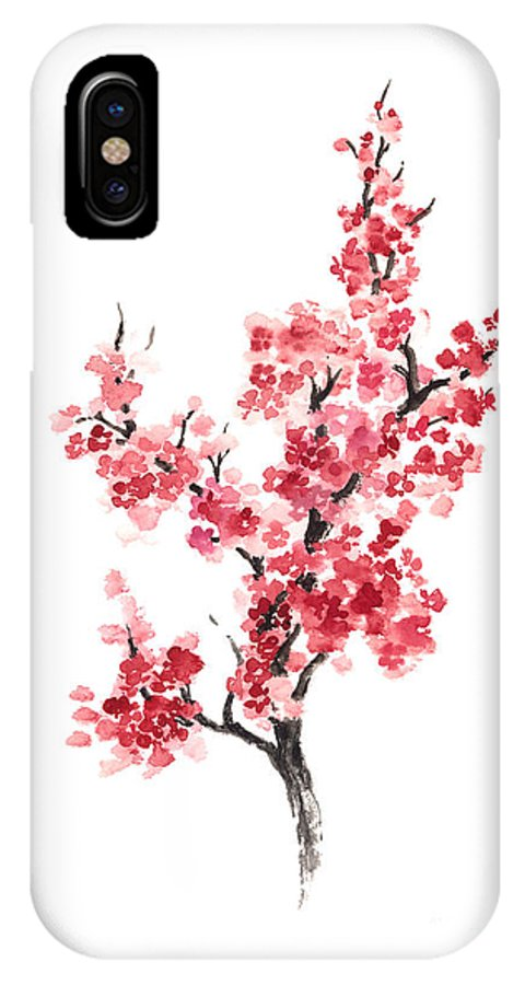 best service b6492 abac5 Cherry Blossom Japanese Flowers Poster IPhone X Case