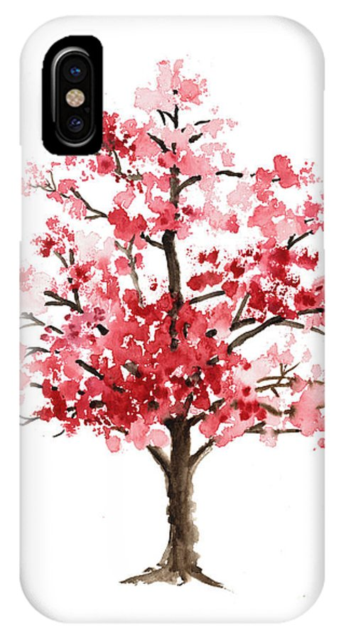 new product b2480 7c2ee Cherry Blossom Tree Minimalist Watercolor Painting IPhone X Case