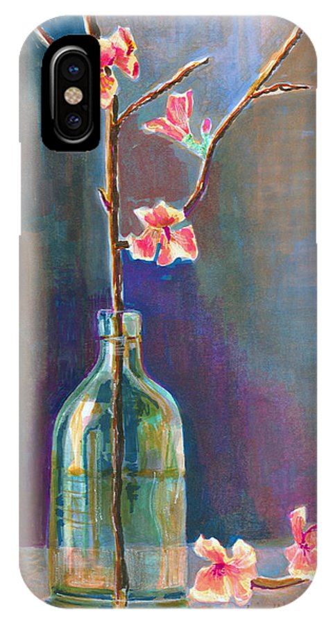 Flower IPhone X Case featuring the painting Cherry Blossoms In A Bottle by Arline Wagner