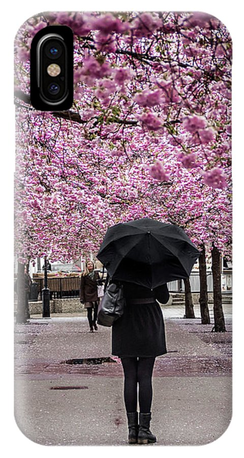 Cherry Blossoms IPhone X Case featuring the photograph Cherry Blossoms In The Rain by Robin Zygelman