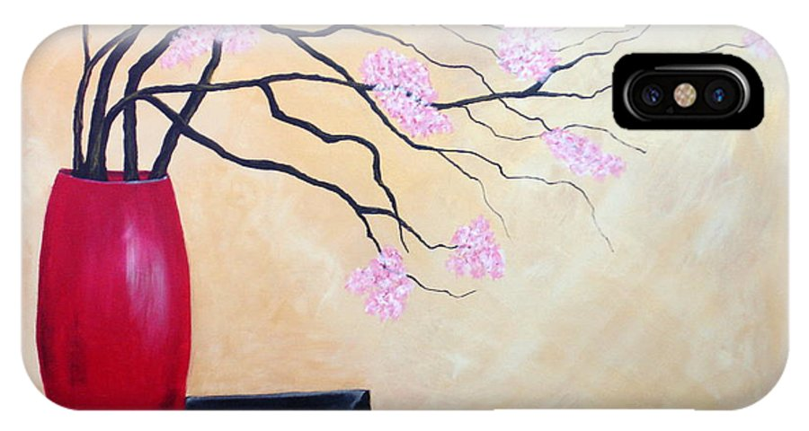 Oriental IPhone X Case featuring the painting Cherry Blossoms by Susan Kubes