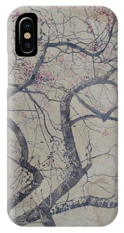 Crab Apple IPhone X Case featuring the painting Prairie Fire by Leah Tomaino