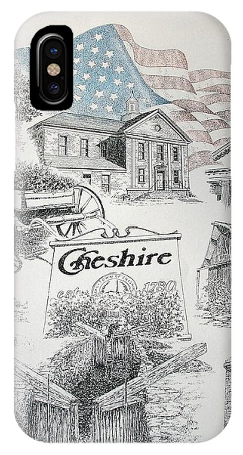 Connecticut Cheshire Ct Historical Poster Architecture Buildings New England IPhone X / XS Case featuring the drawing Cheshire Historical by Tony Ruggiero
