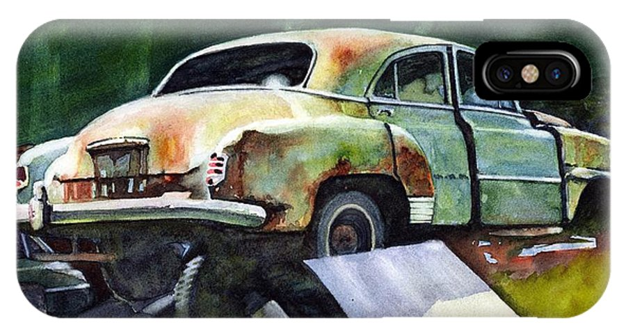 Chev IPhone X Case featuring the painting Chev At Rest by Ron Morrison