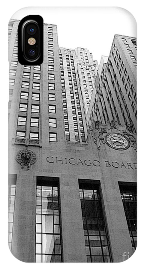 Black And White IPhone X Case featuring the photograph Chicago Board of Trade by David Bearden