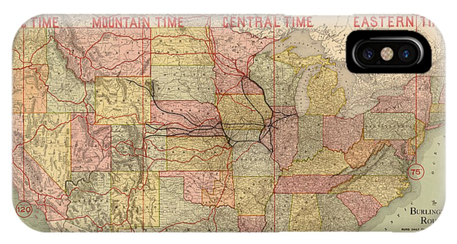 Chicago IPhone X / XS Case featuring the painting Chicago, Burlington Route System Map, 1892. by Celestial Images