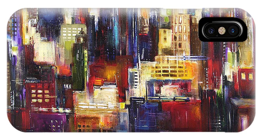 Chicago Art IPhone X Case featuring the painting Chicago City View by Kathleen Patrick
