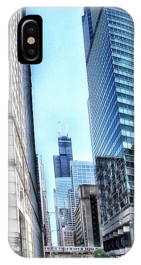 Cities IPhone X Case featuring the photograph Chicago Concrete Canyons by Thomas Woolworth