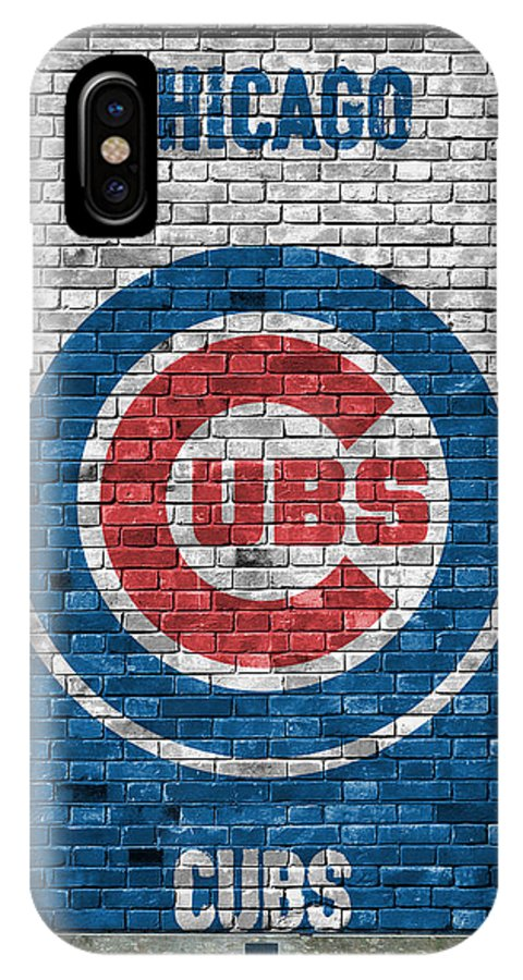 Cubs IPhone X Case featuring the painting Chicago Cubs Brick Wall by Joe Hamilton