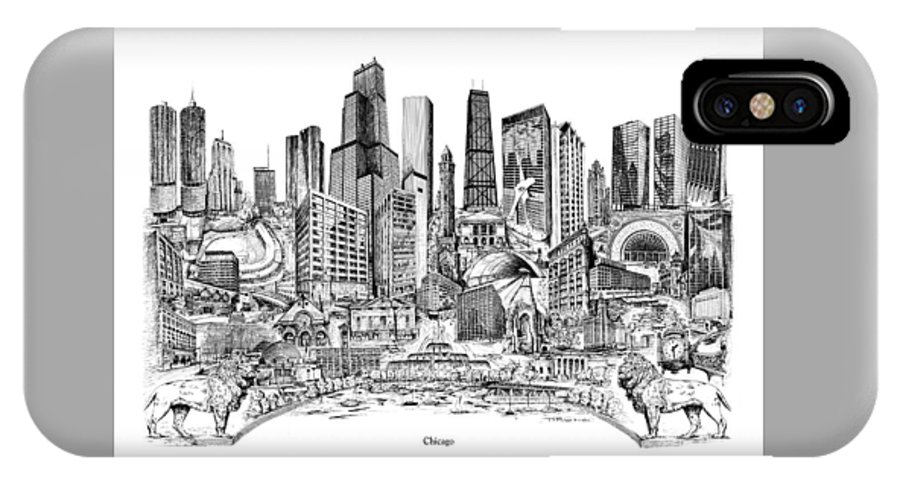 City Drawing IPhone X Case featuring the drawing Chicago by Dennis Bivens